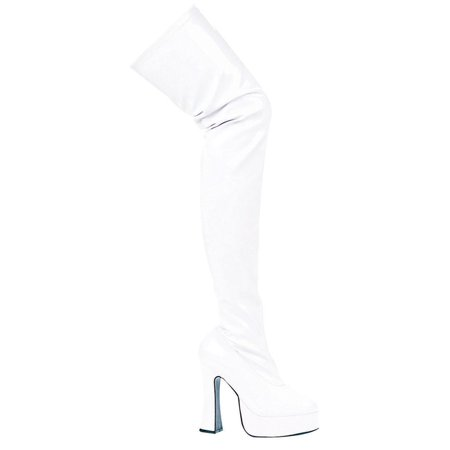 Womens Sexy White Poly Thigh Boot 5 Inch Chunky Heel Stretch Boots Mid Platform
