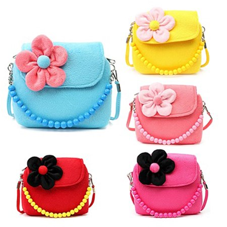 Newpee Children Kid Girls Princess Messenger Shoulder Bag Flower Beads Chain Handbag - Beaded Purse Designs