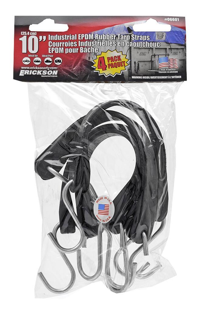 Pack of 4 Erickson 06601 10 Long Industrial EPDM Rubber Tarp Strap,