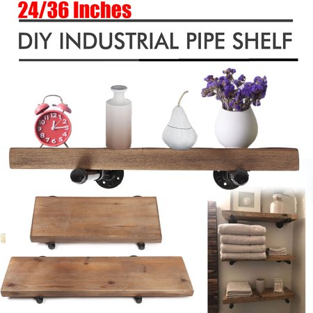 24''/36'' Industrial Pipe Wood Board Floating Shelf Rustic Storage Shelving - Shelf Board