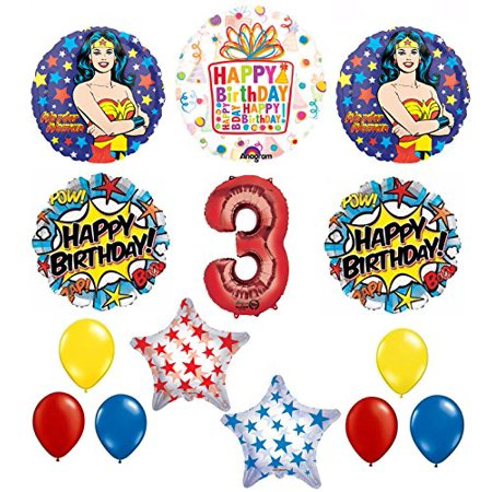 Wonder Woman 14 pc Superhero 3rd Birthday Party Supplies and Balloon Decorations](Wonder Woman Birthday Party Supplies)