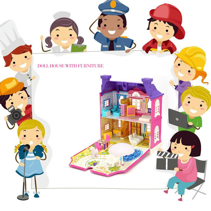 Doll House With Furniture Miniature House Dollhouse Assembling Toys