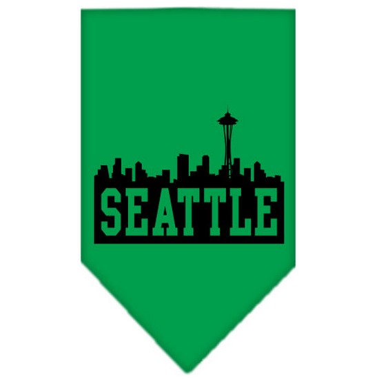 Seattle Skyline Screen Print Bandana Emerald Green Large