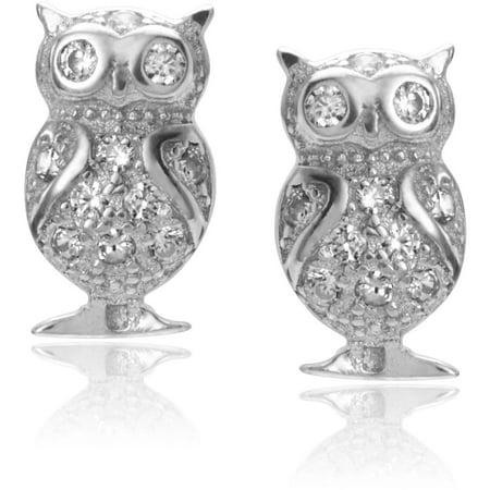Brinley Co. Women's CZ Sterling Silver Owl Post Earrings