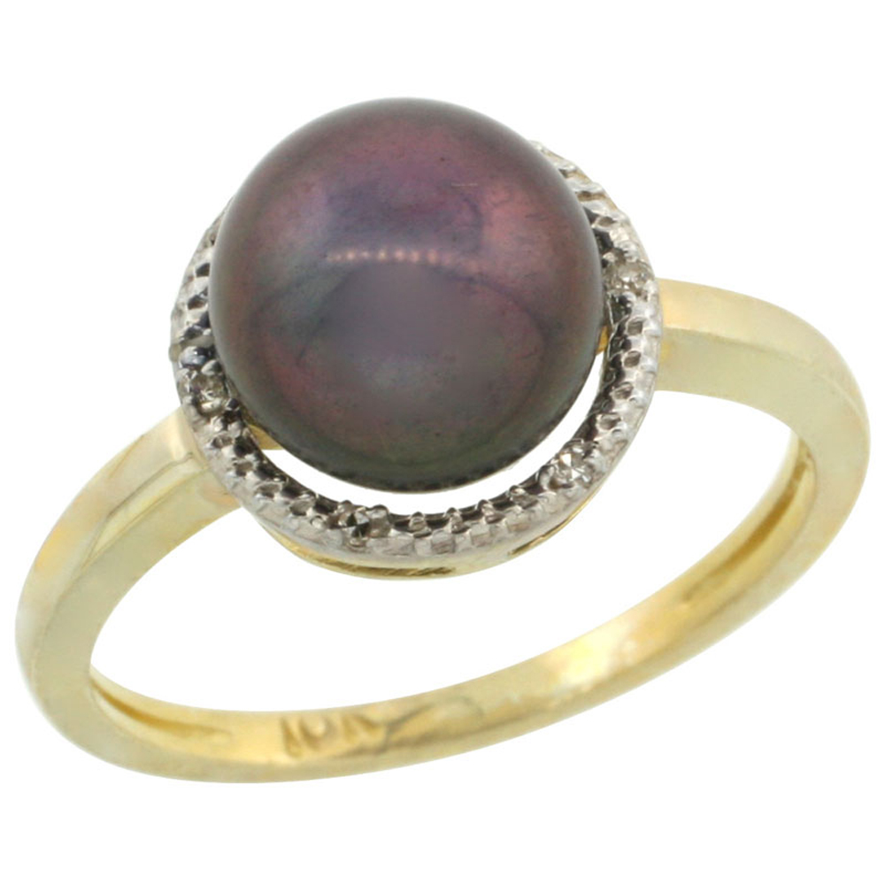 14k Gold Halo Engagement 8.5 mm Black Pearl Ring w  0.022 Carat Brilliant Cut Diamonds, 7 16 in. (11mm) wide by WorldJewels