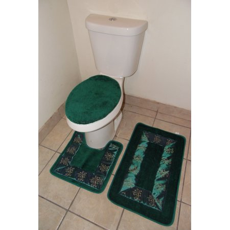 5 Light Bath - 3-PC (#5) HUNTER GREEN Embroidery Design Bathroom Bath Mat Set Includes, 1 Contour Mat, 1 Lid Toilet Cover, 1 Bath Mat Ultra Absorbent with Anti-Slip Backings