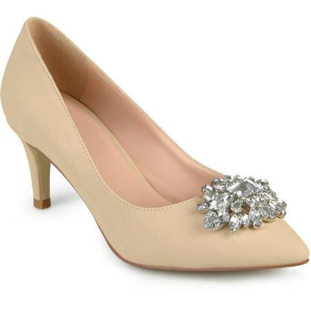 d07c5dba61a Womens Kitten Heel Jewel Cluster Pointed Toe Classic Pumps - Walmart.com