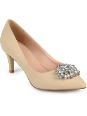 100782176f0 Product Image Womens Kitten Heel Jewel Cluster Pointed Toe Classic Pumps