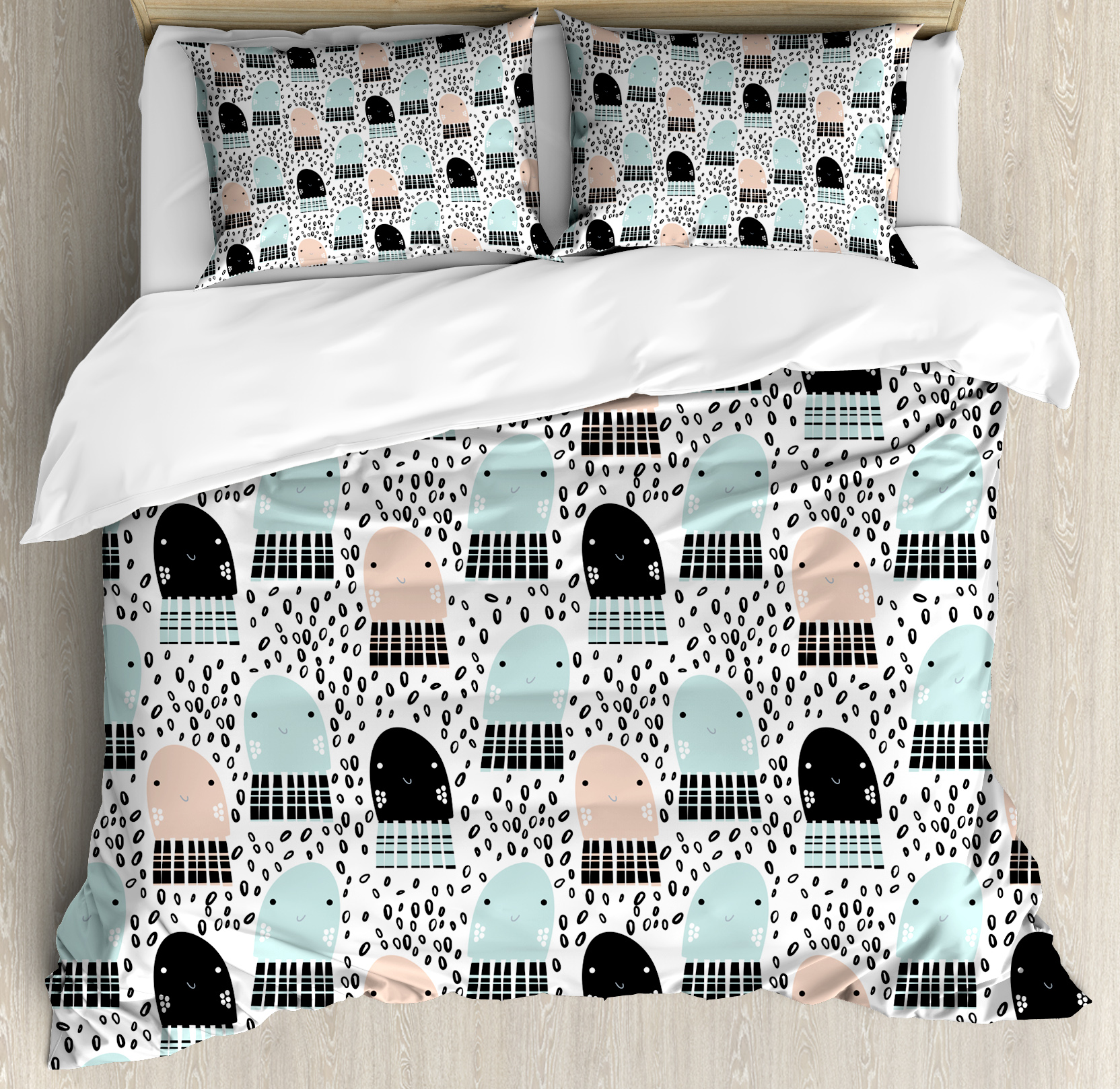 Octopus King Size Duvet Cover Set, Cute Smiling Jellyfishes in the Sea Children Cartoon... by Kozmos