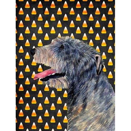 Caroline's Treasures Irish Wolfhound Candy Corn Halloween Portrait 2-Sided Garden Flag