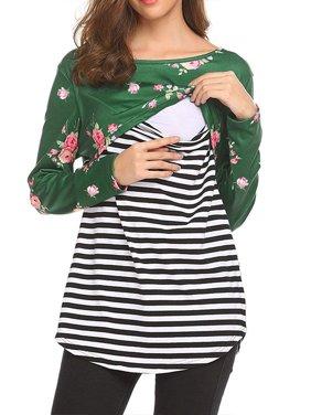 Women's Floral Striped Nursing Blouse Maternity Shirt Breastfeeding Loose Tops