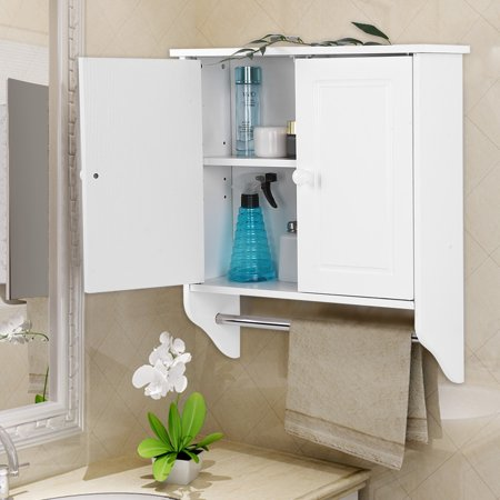 Hilitand Wall Mount Wooden Cabinet Towels Clothes Storage Bathroom Kitchen Laundry With A Stick Hanging