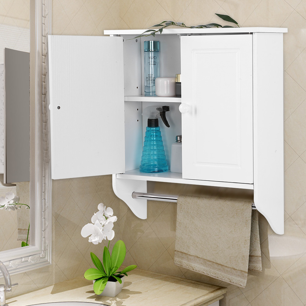 Merveilleux Hilitand Wall Mount Wooden Cabinet Towels Clothes Storage Cabinet Bathroom  Kitchen Laundry With A Stick Hanging