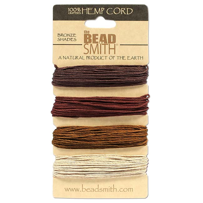 Natural Hemp Twine Bead Cord 1mm Four Earth Tone Color Variety Pack - 30 Feet Each