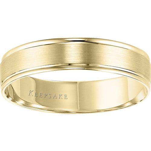 Keepsake Miracle Satin Wedding Band in 10kt Yellow Gold