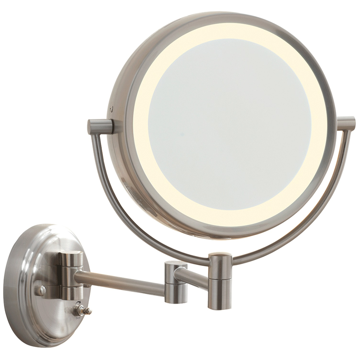 Conair Be6wmx Fluorescent Satin Nickel Wall-mount Mirror