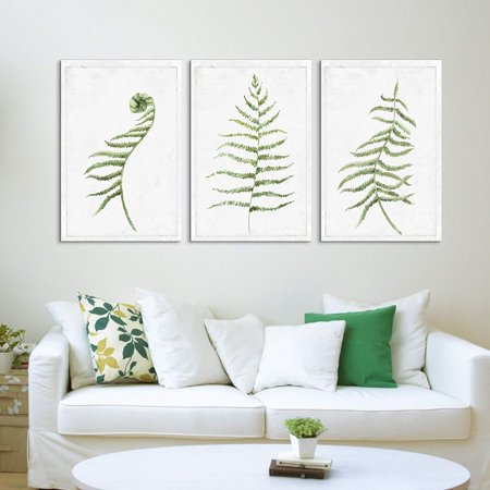 """wall26 - 3 Panel Canvas Wall Art - Hand Drawn Water Paint Minimal Plant Artwork - Giclee Print Gallery Wrap Modern Home Decor Ready to Hang - 16""""x24"""" x 3 Panels"""