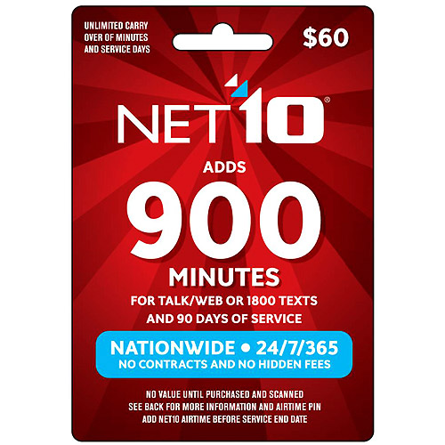 (Email Delivery) NET10 $60 Prepaid Card, 900 min for talk/web or 1800 texts and 90 days of service