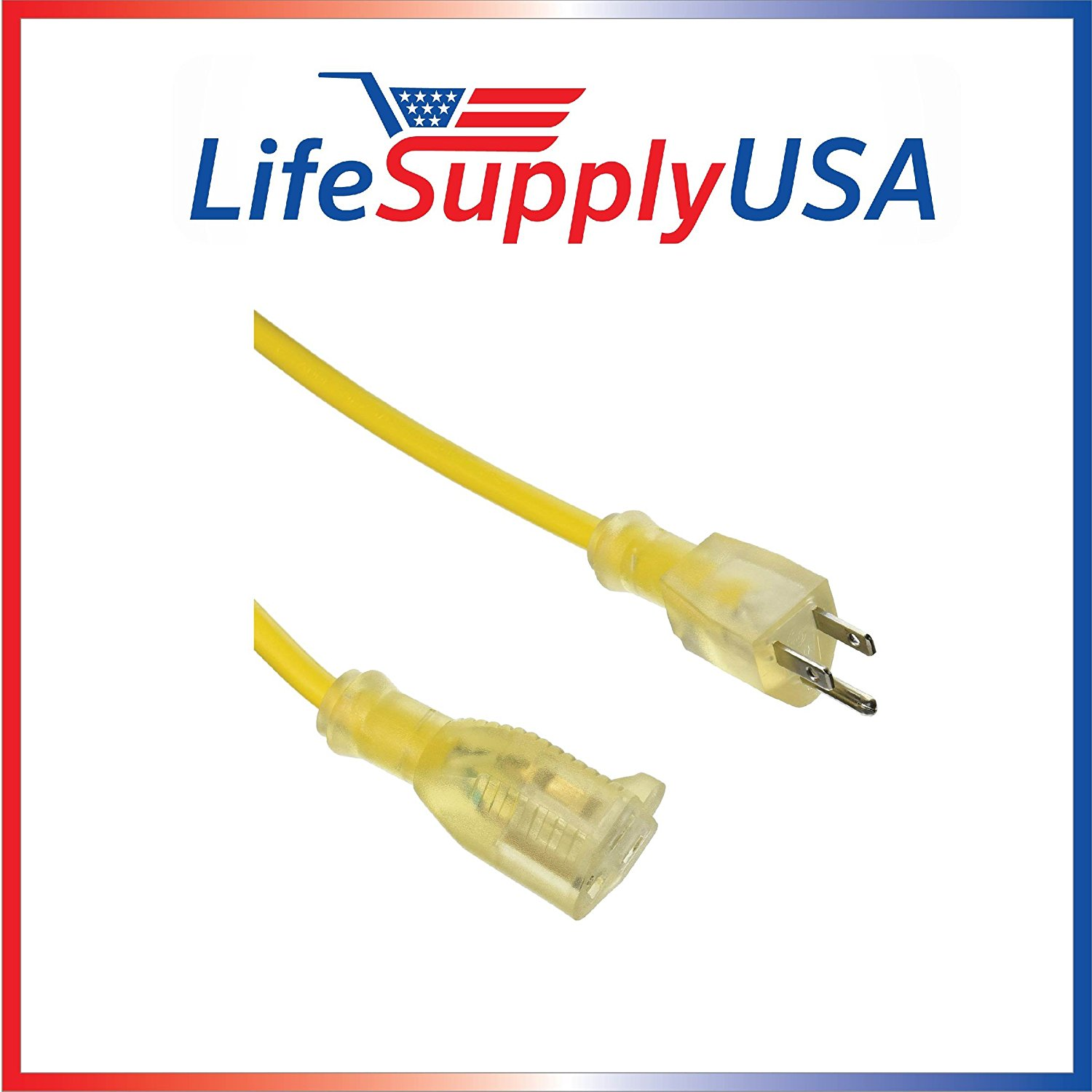 100 Pack - 14/3 200 Feet SJT Lighted End Indoor / Outdoor Extension cord by LifeSupplyUSA