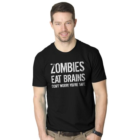 Mens Zombies Eat Brains So You're Safe T Shirt Funny Living Dead Halloween (Brain Dead T-shirt)