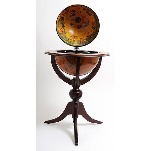 Old Modern Handicrafts Globe Bar 3 Legged Pedestal Stand Red