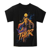 Marvel Little Boys Black Thor Character Graphic Print Short Sleeve Tee