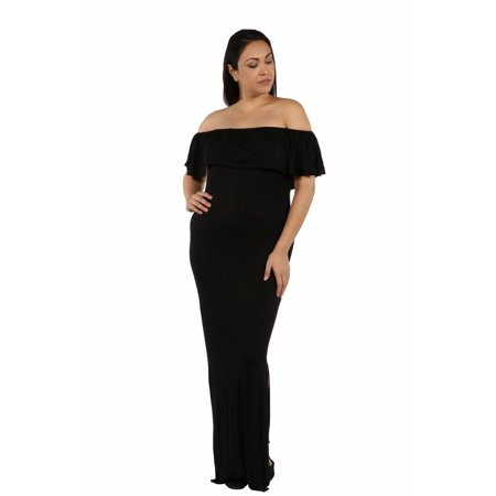 10e18a8ff7e 24Seven Comfort Apparel - 24 7 Comfort Apparel Long Cool Woman Off the Shoulder  Maternity Dress - Walmart.com