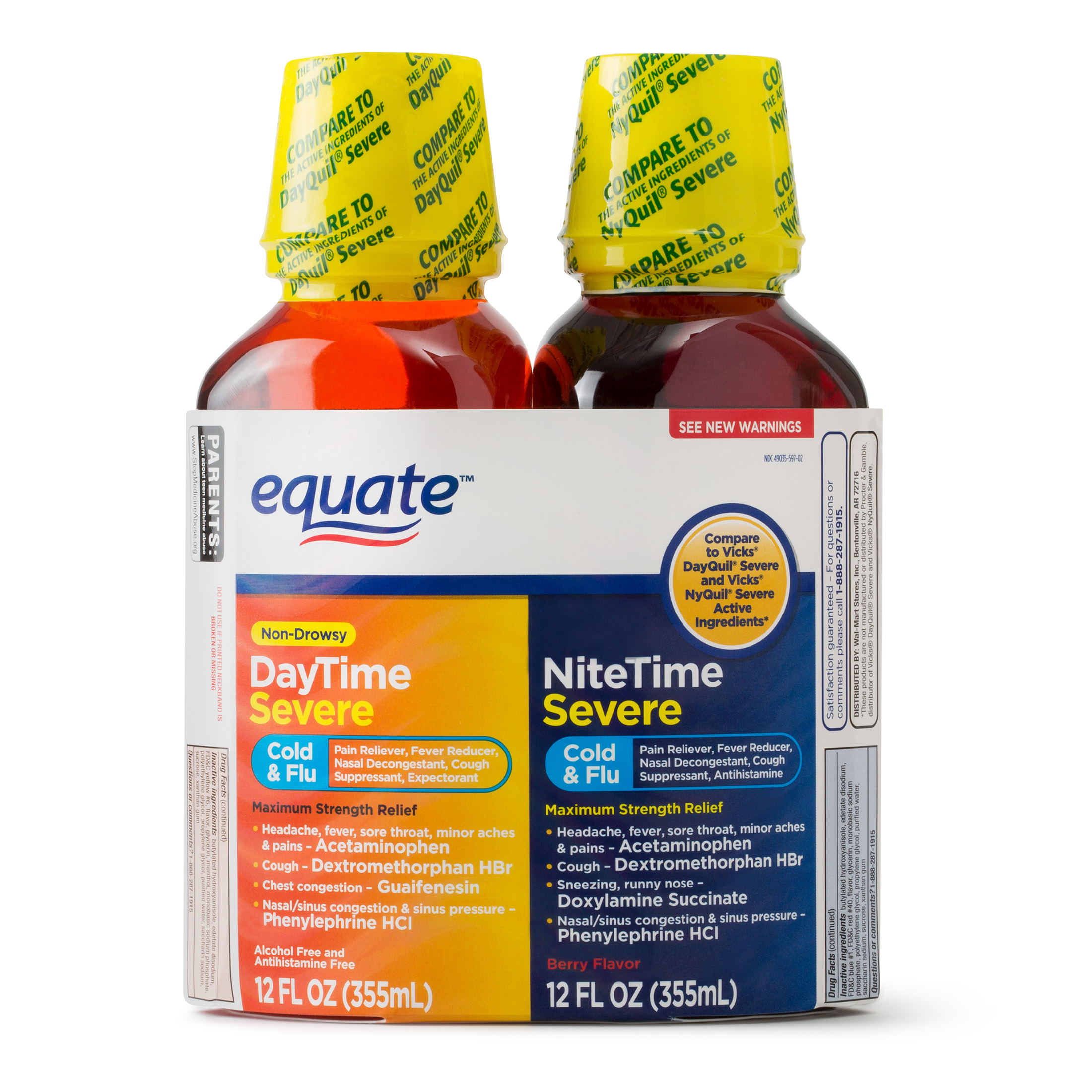 Equate DayTime & NiteTime Severe Cold & Flu Relief, 12 Fl Oz/Bottle