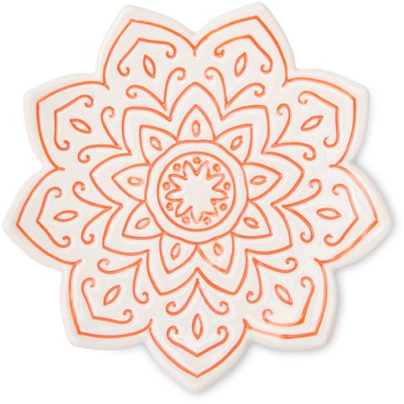Pavilion - Orange Mandala Decorative Patterned Dish Plate 5 Inch ()