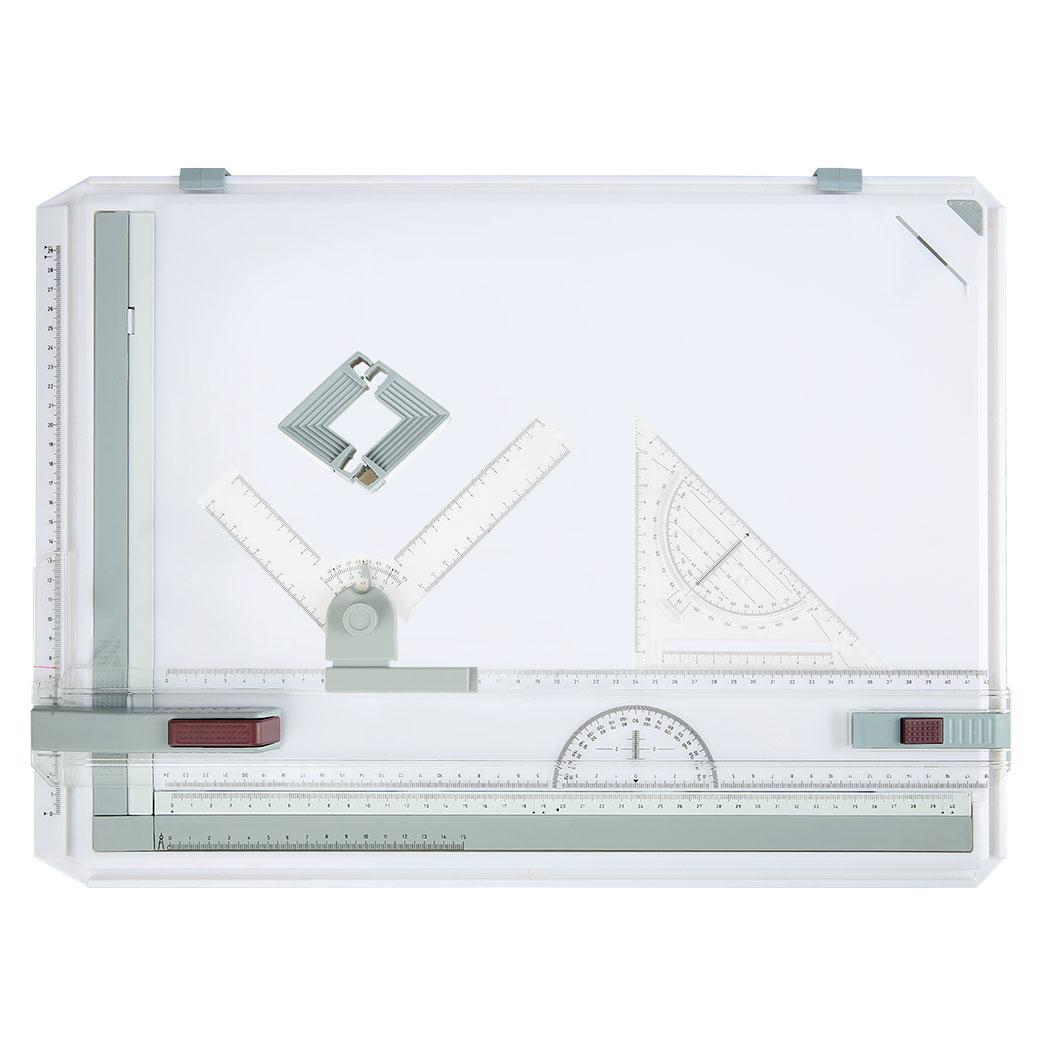 Multi-Function A3 Plastic Graphic Architectural Drawing Board with Parallel Motion, Set Square, Clamps, Protractor, Anti Slip Support Legs, Sliding Ruler