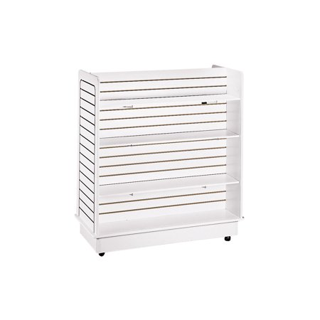 (White Slatwall Gondola Unit - 6 Shelves Included (Base and Casters Included))