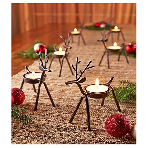 Reindeer Tealight Candle Holders Metal Set of 6 Best for Christmas Holiday by