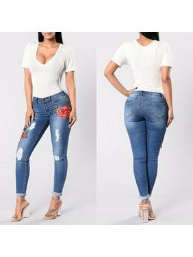 Womens HOT Skinny Jeans Flower Stretch Denim Embroidered Pants Girls High Waist Denim Trousers