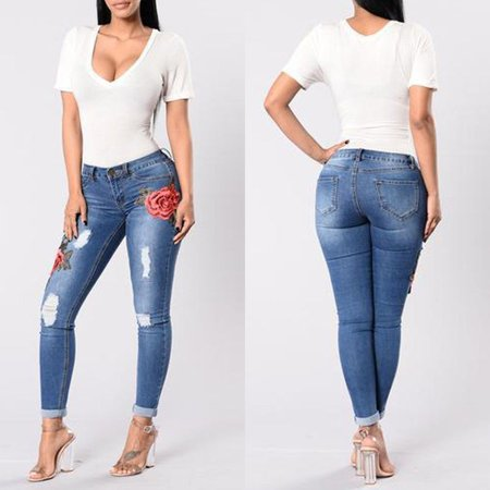 Womens HOT Skinny Jeans Flower Stretch Denim Embroidered Pants Girls High Waist Denim -