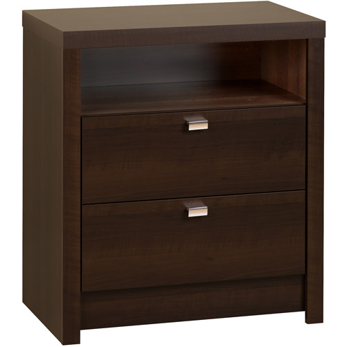 Espresso Series 9 Designer Tall Nightstand, 2-Drawer