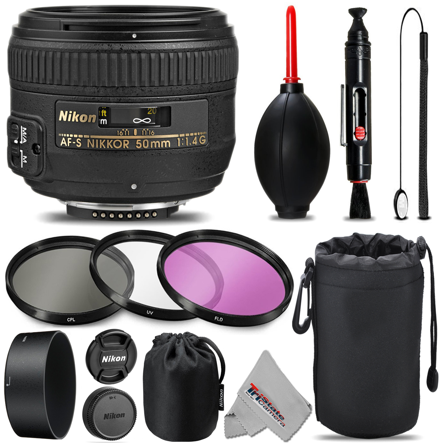 Nikon AF-S NIKKOR 50mm f/1.4G Lens For D3000, D3100, D3200, D3300, D5000, D5100, D5200, D5300, D5500, D7000, D7100 Nikon Digital SLR. All Original Accessories Included - International Version