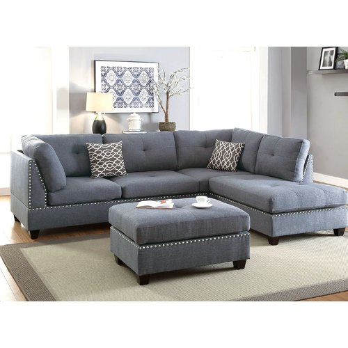 Alcott Hill Charlemont Reversible Sectional with Ottoman