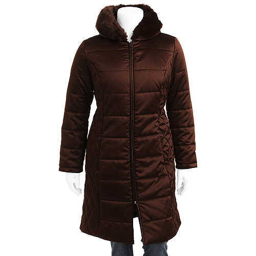 Faded Glory - Women's Plus-Size Long Puffer Coat with Hood
