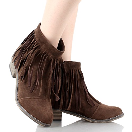 Dorado Fringe Round Toe Cowgirl Vegan Suede Ankle Women's Boots