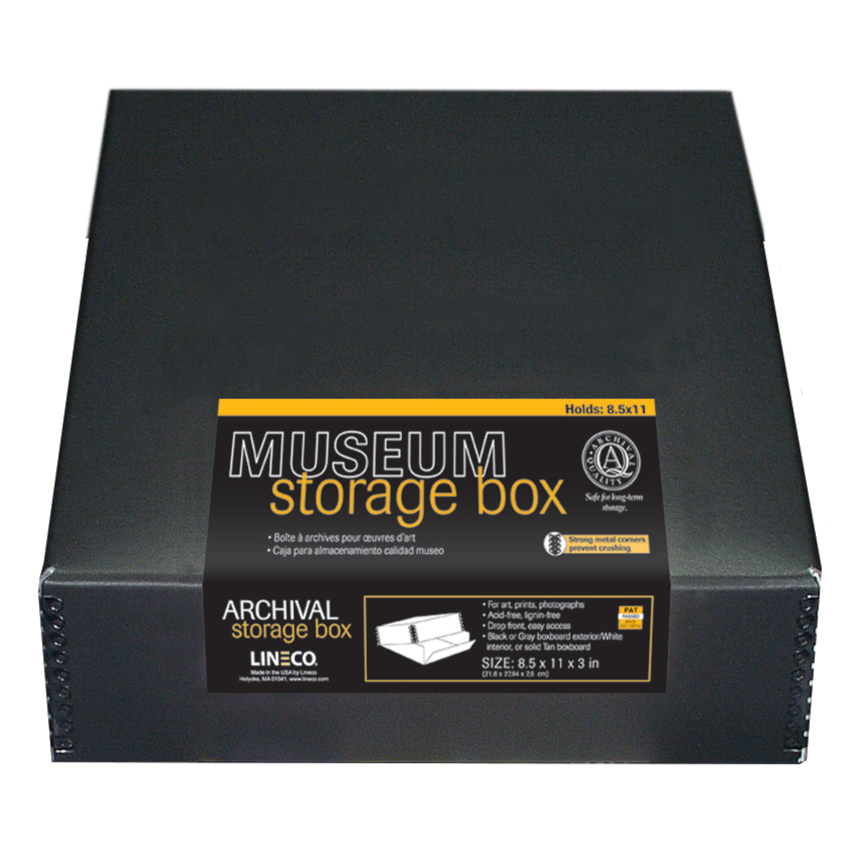 Exterior Color: Tan Drop Front Design Lineco 8x10 Archival Print Storage Box 1.5 Deep