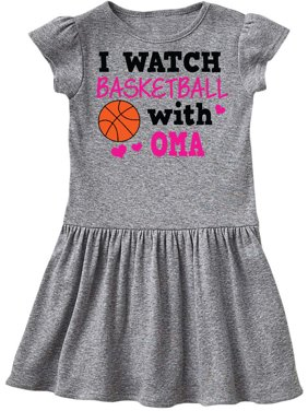 I Watch Basketball with Oma Toddler Dress