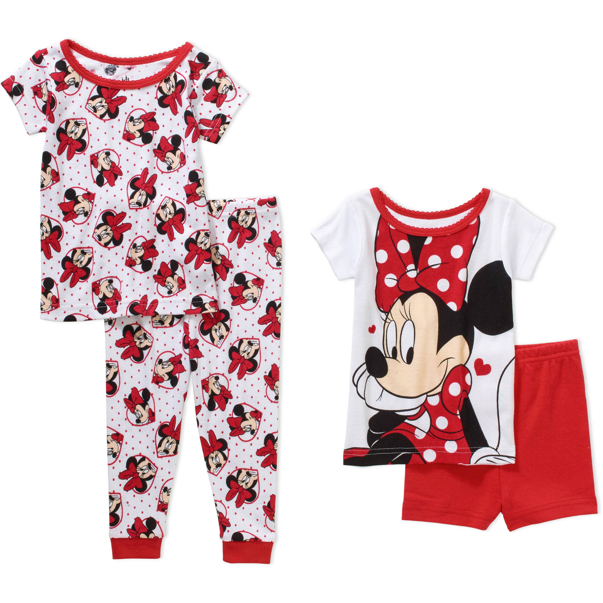 Minnie Mouse Infant Baby Girl' Mix n' Match Short Sleeve Cotton Tight Fit Pajamas, 4-Pieces