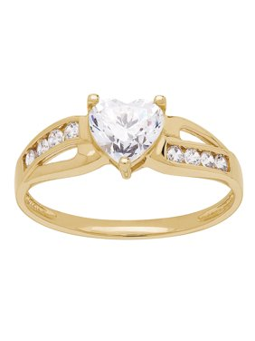 Heart Shape CZ Ring in 10kt Yellow Gold