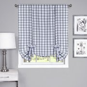 Country Chic Plaid Gingham Tie Up Shade Window Curtain Treatment - Grey