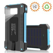 8000mAh Fast Charging Portable Solar Charger Battery Power Bank 2USB Waterproof Blue Color