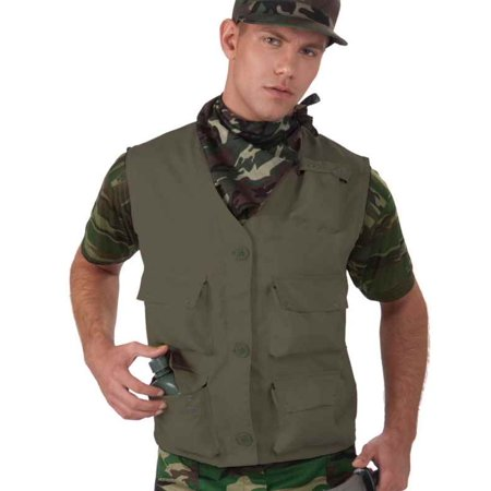 Combat Hero Costume Vest Adult: Solid Green One Size Fits Most - Halloween Town Combat