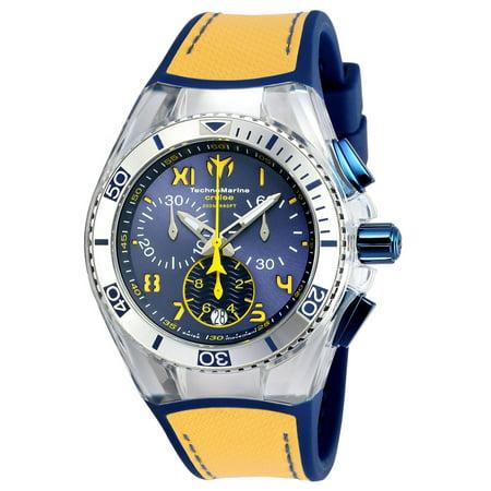 Technomarine Men's Unisex TM-115015 Cruise California Quartz Chronograph Blue, Yellow Dial Watch Unisex Yellow Dial