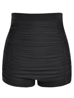 Women High Waist Bikini Tankini Bottoms Wrinkle Swim Briefs Swimming Pants Beach Shorts Bathing Suit Swimwear Swimsuit Beachwear Black Dark Blue M-4XL