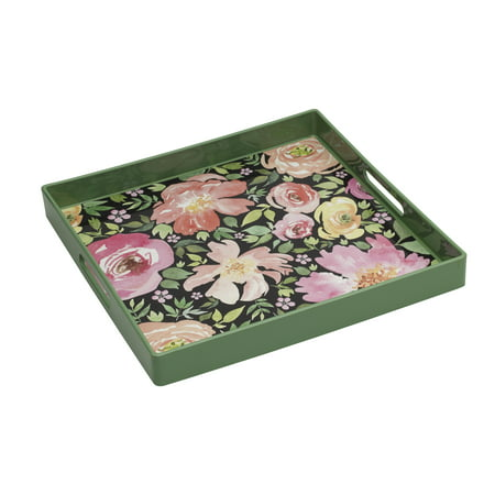 Elements 14-Inch Square Plastic Green Floral Serving Tray - Plastic Serving Tray