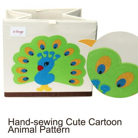 "Foldable Cartoon Storage Bins Toy Box Cube Baskets Lid Green Peacock Pattern 13""x13""x13.6"" - image 2 de 8"